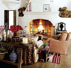 """I can't decide if I favor the rustic """"spanish"""" style. I like the fireplace (it's slope, it's ornate fire hole; white walls contrast against dark woods; Spanish Style Homes, Spanish House, Spanish Colonial, Spanish Revival, Mexican Spanish, Style At Home, Casa Magnolia, Cosy Living, Design Lounge"""