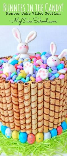 Bunnies in the Candy! A CUTE Easter Cake Video Tutorial by MyCakeSchool.com! This would be perfect for Easter parties!