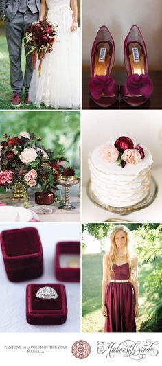 Painel inspiração para casamento com MARSALA na paleta de cores https://br.pinterest.com/ludinthesky/wedding-inspiration/