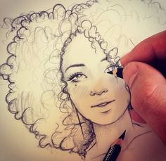 Drawing curly hair is hard. Taking a decent photo of yourself drawing curly hair… Drawing curly hair is hard. Taking a decent photo of yourself drawing curly hair is near impossible! Art And Illustration, Illustrations, Kunst Inspo, Art Inspo, Drawing Sketches, Art Drawings, Sketching, Drawing Faces, Drawing Things