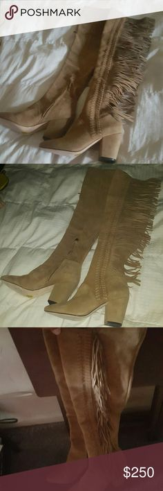 """Rebecca Minkoff Inez Fringe High Shaft Boots 100% Bloomingdale's Exclusive. New. Never worn. Almond type; functional inside zip; 3"""" heel; 21"""" shaft height; 15.75"""" circumference. Kid suede upper, leather and stretch fabric lining, leather and rubber sole; imported. Rebecca Minkoff Shoes Over the Knee Boots"""