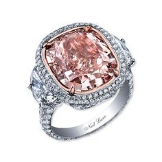 Neil Lane natural pink colored cushion shape diamond ring set in platinum! This would be a pretty engagement ring for all you pink lovers. Pink Diamond Engagement Ring, Pink Diamond Ring, Engagement Ring Styles, Pink Ring, Solitaire Engagement, Pink Sapphire, Neil Lane, Diamond Are A Girls Best Friend, Colored Diamonds