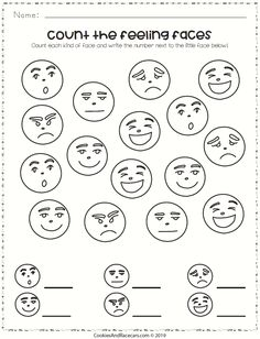 Count the feeling faces and write the number! This worksheet does double duty teaching emotions AND counting! Working with preschoolers … Feelings Preschool, Preschool Social Skills, Teaching Emotions, Emotions Activities, All About Me Preschool, Feelings And Emotions, Preschool Activities, Kindergarten Coloring Pages, Kindergarten Worksheets