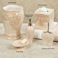 Bianca Ceramic Floral Bath Accessories by J Queen New York