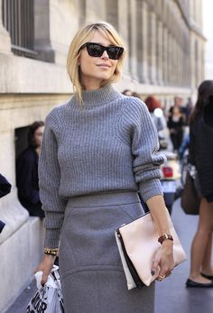 #viaGlamour. love the style lines on the skirt and shrunken sweater