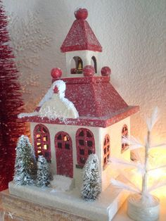 christmas crafts | ... , Christmas Village, Glitter House, Paper House, Christmas Ornament