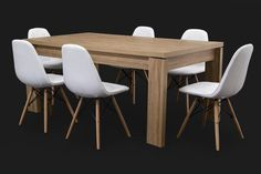 Letta 6 Seater Dining Room Table Dark wood LDF x x cm Sassel White Dining Chair PP seat Beech wood legs x x cm