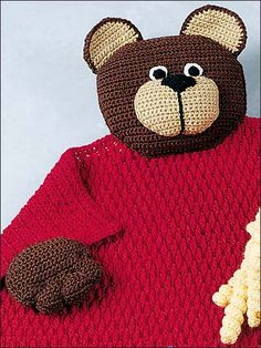 Teddy Bear Blanket Buddy - free crochet pattern download on freepatterns.com