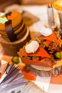 Pie shaped favors at a kids' Thanksgiving party! See more party planning ideas at CatchMyParty.com!
