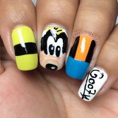 "681 Likes, 10 Comments - Jen (@nailartbyjen) on Instagram: ""Goofy nails!!! (polishes used: @sally_hansen ""statemint"" and @bonitacolors ""Flaming Juan"" & ""This…"""