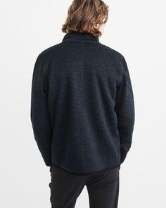A&F Men's Sport Sweater Fleece Jacket in Navy Blue - Size XXL