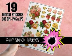 Victorian Rose Basket Digital Printable Sticker Sheet - 19 Digital Printable Rose Stickers - Print & Cut Your Own Stickers