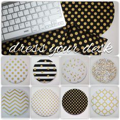 What a fun way to class up your desk and cube.  Gold metallic mouse pads, wrist, and keyboard rests!!