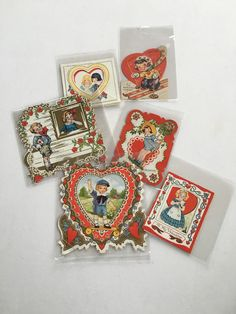 Vintage Valentine's Day Cards 1930's 40's by GardenBarn on Etsy