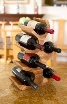 Acacia Wood Wine Rack, 6 Bottles