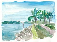 """Saatchi Art is pleased to offer the painting, """"Florida Keys Waterways near Marathon,"""" by M Bleichner, available for purchase at $369 USD. Original Painting: Watercolor on Paper. Size is 7.9 H x 11.8 W x 0.4 in. Florida Keys, Marathon Poster, Original Paintings For Sale, Original Artwork, Keys Art, Impressionism Art, Cool Artwork, Paper Art, Watercolor Paintings"""