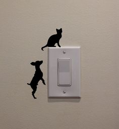 Chihuahua Dog Chasing Cat on the Light Switch 3 by DecalPhanatics