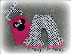 Custom Boutique Clothing White Black Polka Dot Minnie Mouse Dalmatian Halter Capri Set Girl