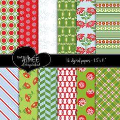 Digital Scrapbook Paper Christmas Holiday Stripe by ToutAimee, $6.00