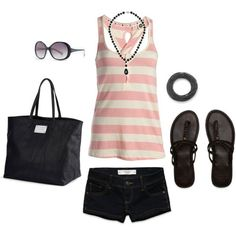 Summer  outfit pink layered tank w/black shorts