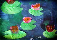 water lilies project for kids like Eric carle painted paper project. Lilies are cut out. Use crumpled tissue paper for flowers and attach with paint