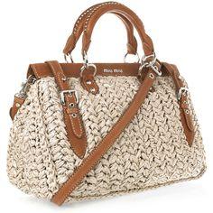 Leather-trimmed raffia tote by Miu Miu Bag Crochet, Crochet Clutch, Crochet Handbags, Crochet Purses, Miu Miu Tasche, Shopper, Knitted Bags, Handmade Bags, Chanel Handbags