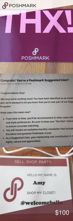 "SUGGESTED USER Poshmark yay! 😀❤️ I always ship fast & want to be a good Posher! Hopefully my ratings/ship time will help you in deciding to purchase! I am always hoping for happy Poshmark buyers when you receive your purchase in the mail! Thank you & Happy Shopping! *sorry-I can't do trades, or PayPal."" Poshmark! Other"