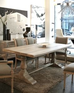 Get the modern farmhouse dining room decor ideas from the table, lighting, chairs, and more. Farmhouse Dining Room Table, Dining Room Table Decor, Trestle Dining Tables, Dining Room Walls, Dining Room Design, Dining Furniture, Furniture Design, Room Chairs, Montreal