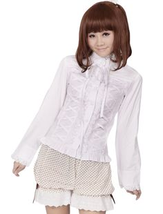 AvaLolita Classic White Cotton Lace Front Bowtie Long Sleeve Lolita Blouse, Customized