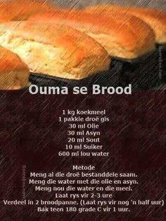 Food recipes from all over the world. South African Dishes, South African Recipes, Kos, Ma Baker, African Dessert, Braai Recipes, Bread And Pastries, Artisan Bread, Bread Baking
