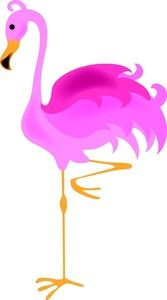 Flamingo Clip Art | Flamingo Clipart Image - A blancing pink flamingo standing on one leg