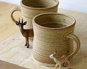 Set of two handmade tea mugs - stoneware pottery mugs glazed in natural brown