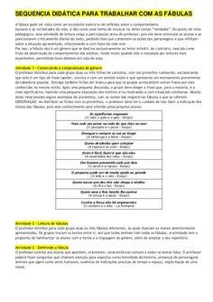 Sequencia didática para trabalhar com as fábulas
