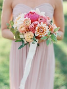 Peach & Pink Bouquet|Photography: Laura Gordon Photography - lauragordonphotography.com  Read More: http://www.stylemepretty.com/2015/04/16/colorful-charlottesville-virginia-wedding/