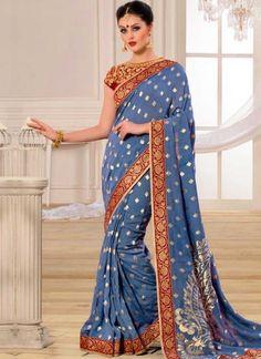 Blue Grey Printed Banarasi Silk Designer Party Wear Sarees http://www.angelnx.com/Sarees/Designer-Sarees