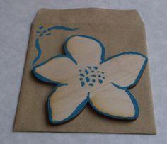 handmade wooden flower greeting card