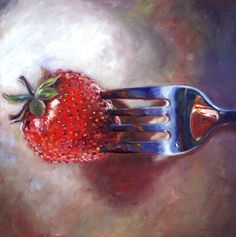 Still life ... i like this painting because of the way the fork goes into the strawberry the detail :)