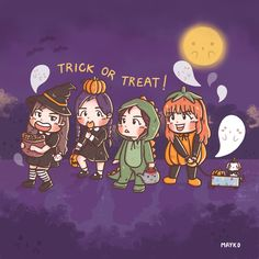 ‪[Fanart]Trick or treat  #Halloween #Rose #Jennie #Lisa #Jisoo #BLACKPINK #블랙핑크 #blackpinkfanart #Fanart #mayko #procreate‬