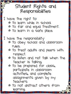 Student Rights & Responsibilities.This would be great in any room but perfect for a Social Studies classroom! Classroom Posters, School Classroom, Science Classroom, Elementary Classroom Rules, Classroom Contract, Class Contract, Behavior Contract, Social Contract, Behavior Plans