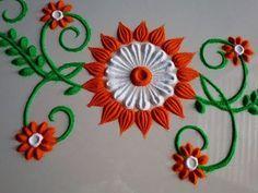 Small and simple rangoli design. by DEEPIKA PANT - YouTube Rangoli Designs Flower, Small Rangoli Design, Rangoli Designs Diwali, Rangoli Designs Images, Rangoli Designs With Dots, Flower Rangoli, Beautiful Rangoli Designs, Flower Designs, Diwali Rangoli