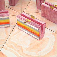 EDIE PARKER Striped box clutch