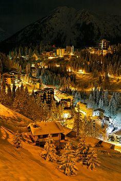 Snowy Night, Bergamo, Italy