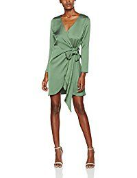 New Look Women's Satin Wrap Tie Dress