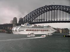 The cruise ship Sun Princess going under the Sydney Harbour Bridge from Millers Point.