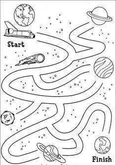 We made up a space activity book for quiet times throughout the weekend (kym) Space Theme Preschool, Space Activities, Space Projects, Space Crafts, Preschool Worksheets, Preschool Activities, Printable Mazes, Free Printable, Solar System Crafts