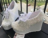 Your Shop - Manage Listings - Etsy Wedding Shoes Bride, Bride Shoes, Lace High Heels, Wedding Sneakers, Ribbon Colors, Platform Shoes, Shoes Heels, Etsy, Stylish