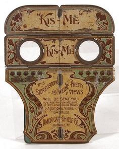 VERY RARE, original, 1903, Folding, Pocket, Hand-held Advertising Stereopticon…