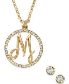 Charter Club Gold-Tone Crystal Initial Pendant Necklace and Stud Earring Set, only at Macy's