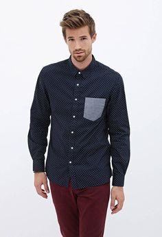 Blue Shirt Dot Print