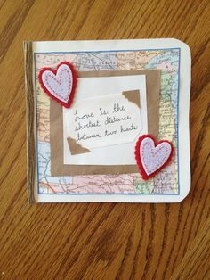 Love is the shortest distance between two hearts. Valentine card. Long distance relationship.